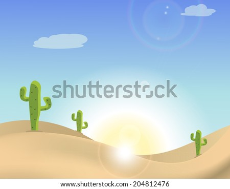 Scene of a cactus in the desert - stock vector
