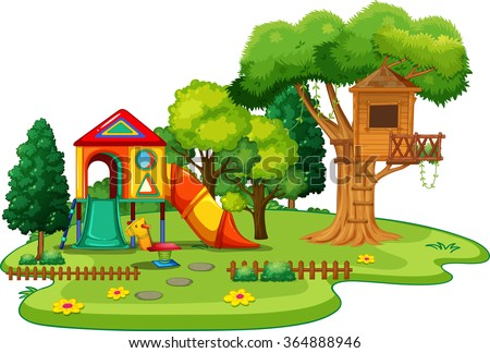 Scene of park with treehouse and slides illustration