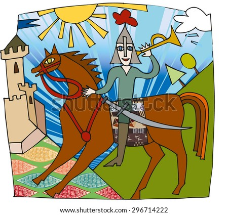 scene of the Middle Ages - stock vector