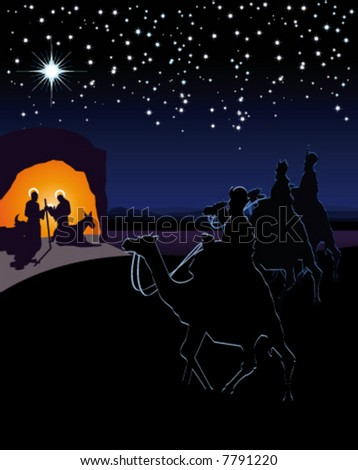 Scene of the nativity. The three wise men and the child Jesus. It can be used both to celebrate Christmas as to tell the life of Jesus. It is divided into layers perfectly editable - stock vector