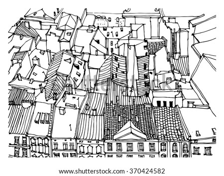Scene street illustration. Hand drawn ink line sketch European old town, historical architecture  with buildings, roofs in outline style. Ink drawing of cityscape, perspective view. Travel postcard. - stock vector