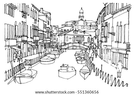 Scene street illustration. Hand drawn ink line sketch European old town Venice, historical architecture with buildings, windows . Ink drawing of cityscape, perspective view. Travel postcard.
