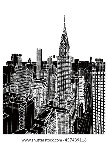 Scene street illustration. Hand drawn ink line sketch panorama of New York city, Manhattan with buildings,office,cityscape  in outline style perspective view. Postcards design.