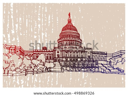 Scene street illustration. Hand drawn ink line sketch Washington city,  with buildings, cityscape, United States Capitol  in outline style perspective view. Postcards design.