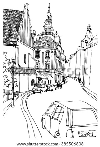 Architecture Drawing Cars scene street illustration hand drawn ink stock vector 385506808