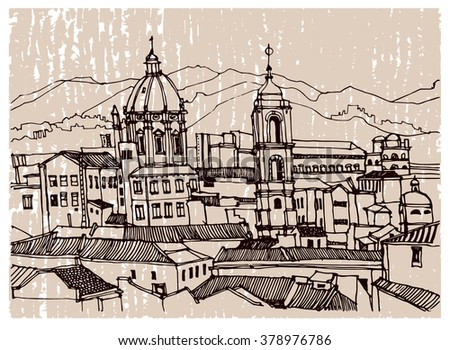 Scene street illustration. Hand drawn ink line vintage sketch European old town Rome, historical architecture with buildings, roofs . Ink drawing of cityscape, perspective view. Travel postcard.