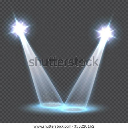 Scene transparent light effects. Spotlights. - stock vector