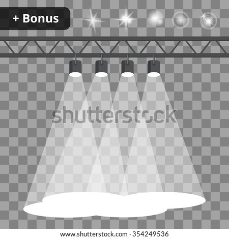 Scene with four projectors, spotlights on a transparent background. bonus with a picture of the lighting effects and reflections - stock vector