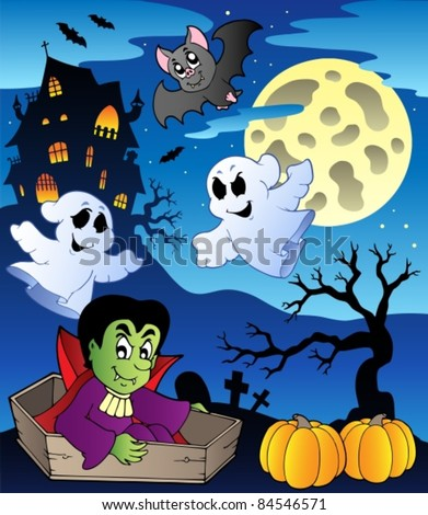 Scene with Halloween theme 2 - vector illustration. - stock vector