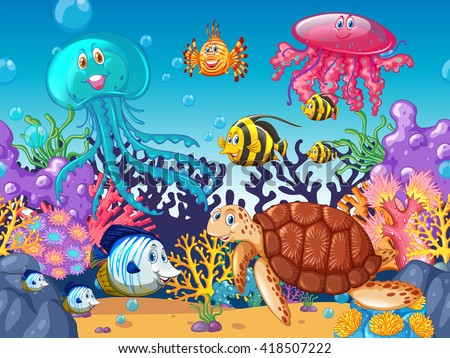 Scene with sea animals under the ocean illustration - stock vector