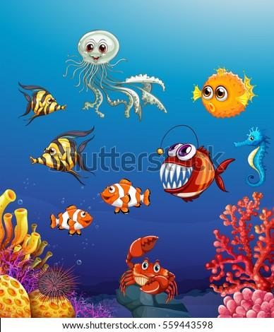 Scene sea animals under ocean illustration scene with sea animals under the ocean illustration voltagebd Gallery