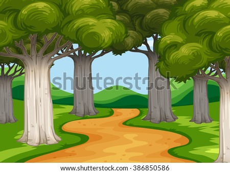 Scene with trees along the road illustration - stock vector