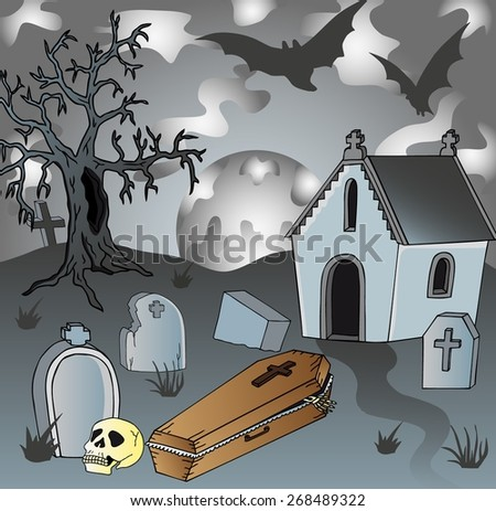 Scenery on cemetery with coffin - vector illustration. - stock vector