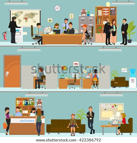scenes of people working in the office. Interior office. Vector. open space office building with working people. people working in the office building. clerks in the office interior. - stock vector
