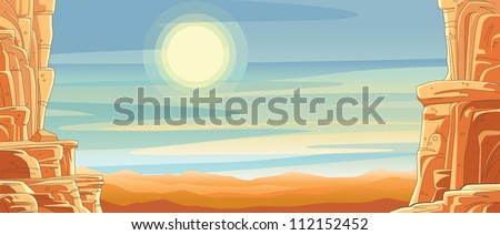 Scenic Desert Canyon Background Vector illustration of a scenic mountain pass through a desert canyon with sun and brightly lit clouds streaking through the sky. - stock vector