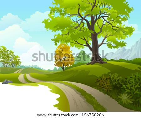 Scenic ride around beautiful countryside - stock vector