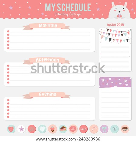 Schedule for the day, with funny animal illustrations. Romantic and love stickers, labels, tags and ribbons. Template for scrapbooking, wrapping, cards, notebook, diary, stickers, school accessories - stock vector