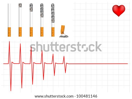 Schedule heart smoker and the image of cigarettes. - stock vector
