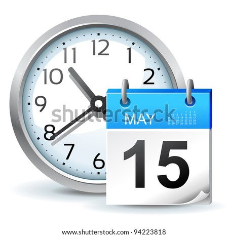 schedule icon - office clock with calendar - stock vector