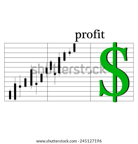 Schedule of earnings on the stock exchange of the dollar icon - stock vector