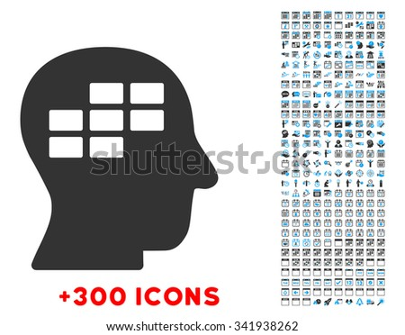 Schedule Thinking vector pictogram with additional 300 date and time management icons. Style is bicolor flat symbols, blue and gray colors, rounded angles, white background. - stock vector