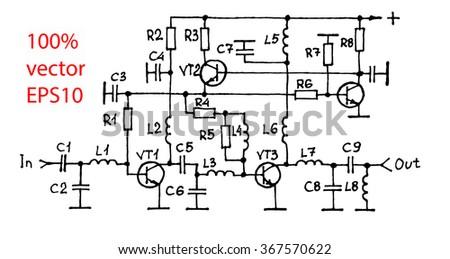 Schematic diagram of the amplifier - stock vector