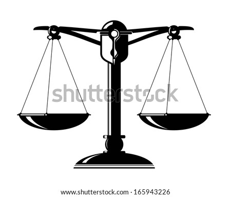 schematic illustration of an old scale with weighing pans - stock vector