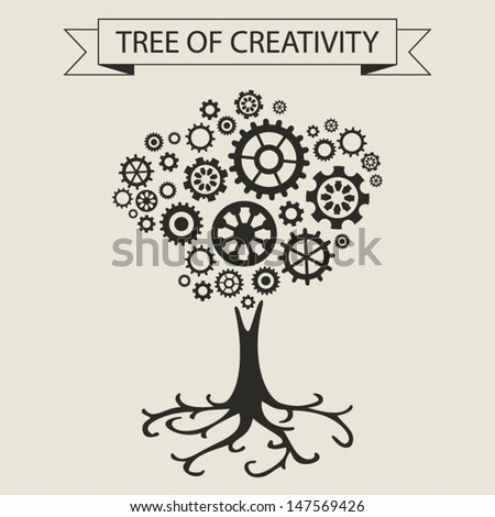 Schematic info graphic of tree and sprockets. Tree of creativity and ideas concept. Vector illustration - stock vector