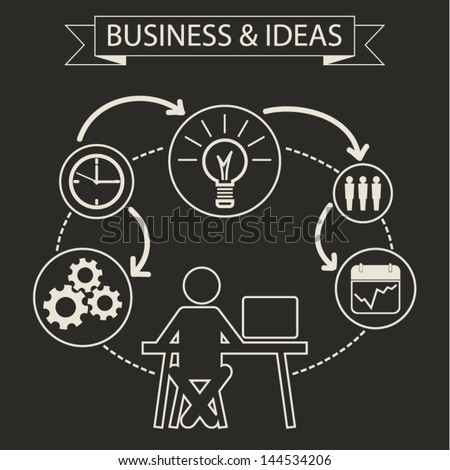 Schematic info graphic with businessman. Employee business model concept, data summary. Vector illustration - stock vector