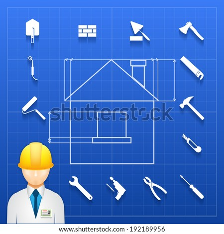 Schematic infogram of a home under construction with an architect  engineer or builder in a hardhat and a variety of hand tools icons arranged as a border - stock vector