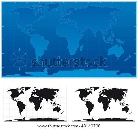 Schematic world map - stock vector