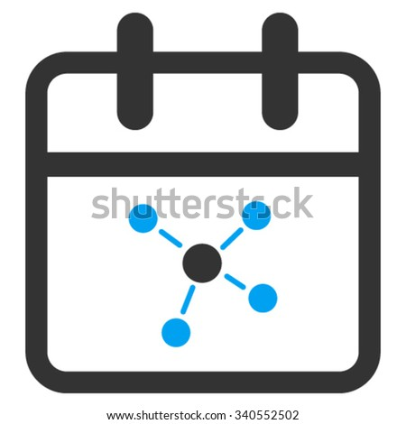 Scheme Date vector icon. Style is bicolor flat symbol, blue and gray colors, rounded angles, white background. - stock vector