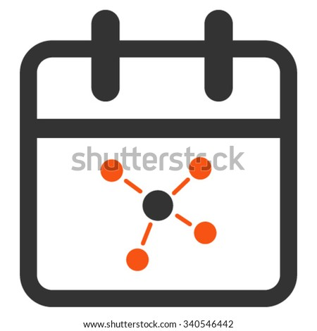 Scheme Date vector icon. Style is bicolor flat symbol, orange and gray colors, rounded angles, white background. - stock vector