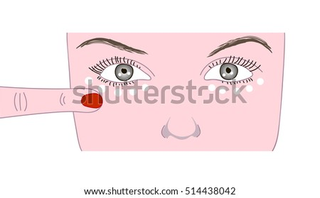 Scheme how to put the  cream for lower eyelids. Woman face