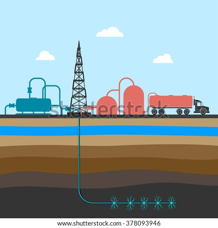 scheme of mining shale fossil vector illustration