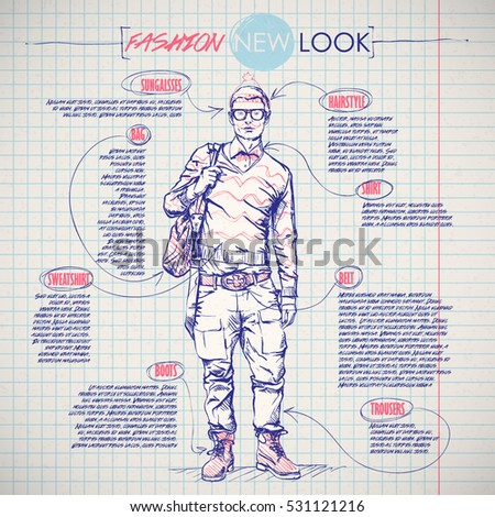 Scheme, sketch of  stylish dude. Vector infographics.