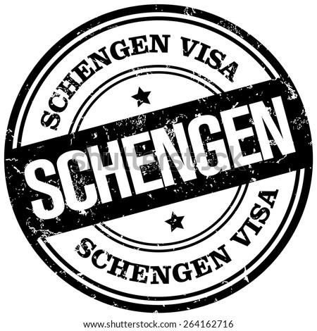 schengen visa stamp - stock vector