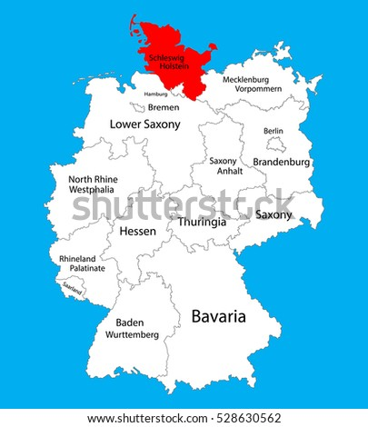Schleswigholstein State Map Germany Vector Map Stock Vector