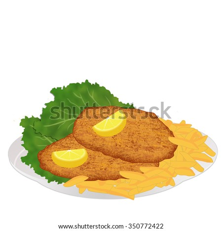Schnitzel with frech fries, lettuce and lemon slices on white background, vector illustration - stock vector