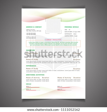 Scholarships CV Resume Template Design And Letterhead / Cover Letter.  Professional CV Design With Placeholder