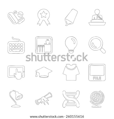 Scholastics icon line hand drawn Set 1 - stock vector