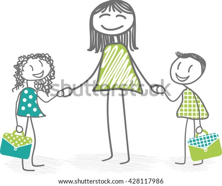 School A mother accompanied by her children at school - stock vector