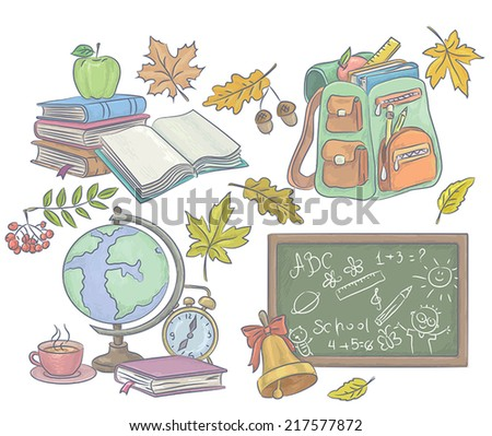 School Accessories. Contains transparent objects.EPS 10. - stock vector