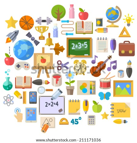 School accessories flat style icons set - stock vector
