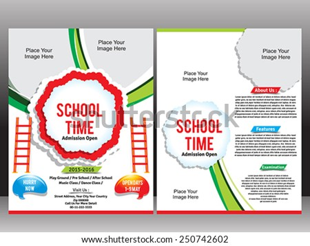 School Admission Flyer Template vector illustration - stock vector