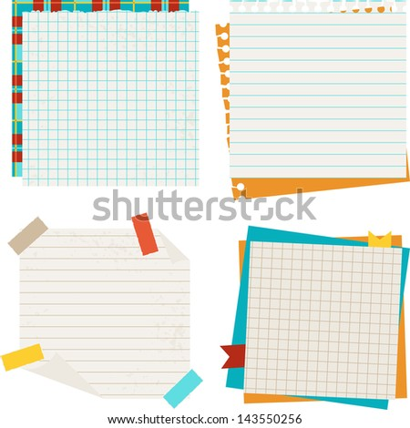 School and education background with sticky papers. - stock vector