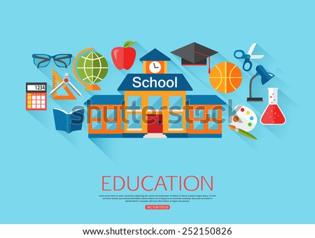 School and education concept background with place for text. Collection of flat education icons. Vector illustration. - stock vector