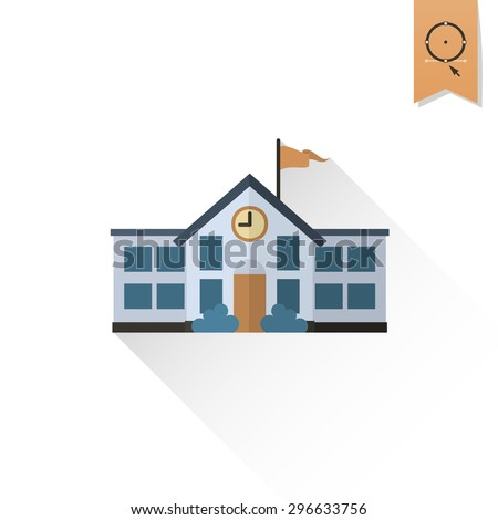 School and Education Icon - School Building. Vector Illustration. Flat design style - stock vector
