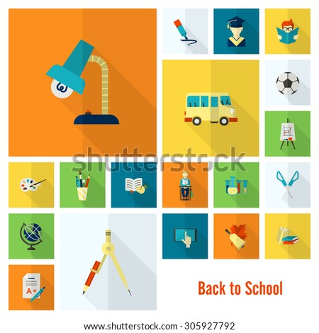 School and Education Icon Set. Flat design style. Vector - stock vector