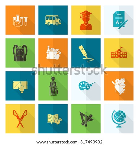 School and Education Icon Set. Flat design style. Vector